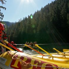 Rafts leaving Francis Lake above Rose Garden